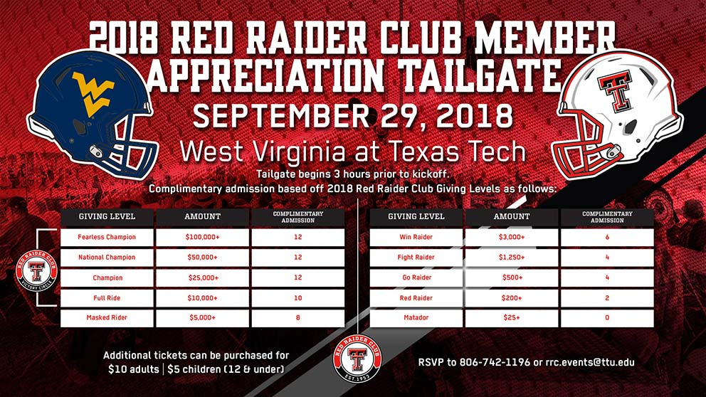 2018 Red Raider Club Member Appreciation Tailgate
